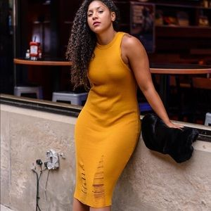 Dresses - Yellow Midi Bodycon Dress